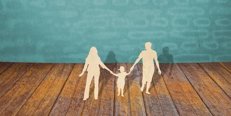 paper cut: Papier gesneden van de familie symbool