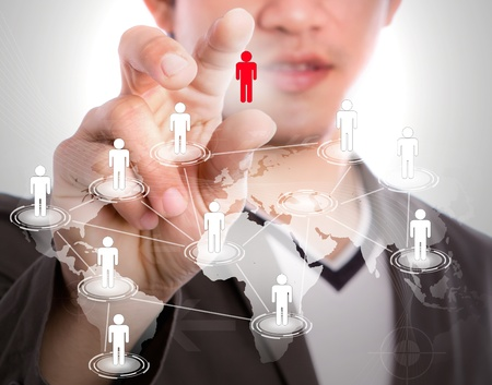 cross linked: Social Network concept : young business man point to social network and world map