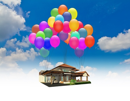 helium: A house lifted by Balloons over blue sky Stock Photo