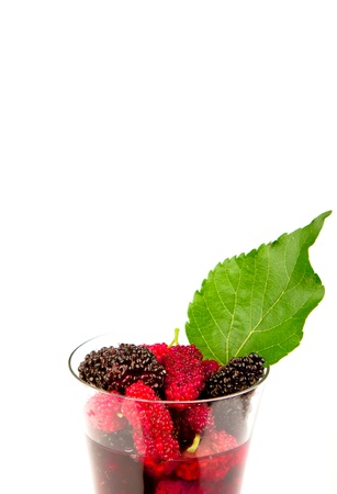 Mulberry juice in the glass Stock Photo