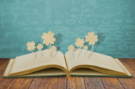 book binding: Paper cut of Four leaf clover