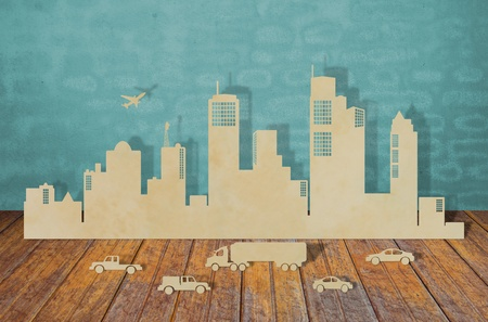Paper cut of  cities with car and plane photo