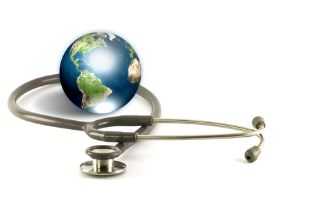 world ball: Stethoscope and earth (Elements of this image furnished by NASA) Stock Photo
