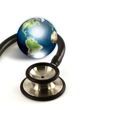 Stethoscope and earth (Elements of this image furnished by NASA) photo