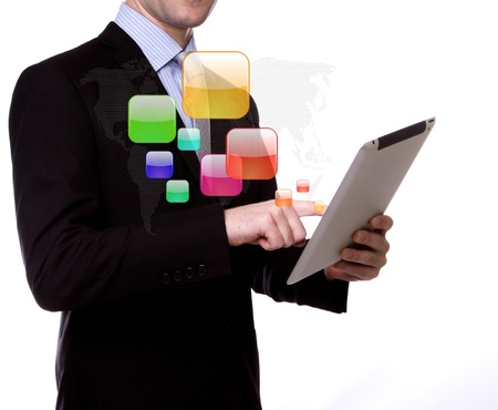 Business man with touch screen device photo