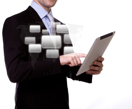 Business man with touch screen device Stock Photo - 13213321