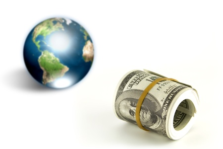 Dollar and earth (Elements of this image furnished by NASA) photo
