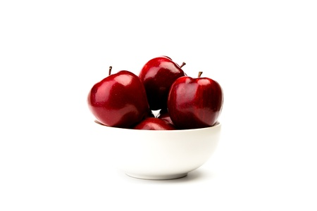 aliments: Red apple on white plate isolated on white background
