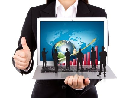 Business people hold Laptop with silhouette people photo