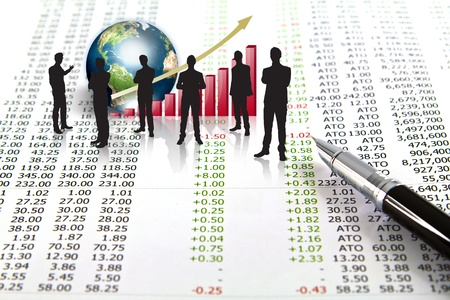 Silhouettes of business and business graph with earth (Elements of this image furnished by NASA) Stock Photo - 13446101