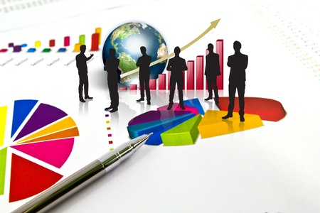 Silhouettes of business and business graph with earth (Elements of this image furnished by NASA) Stock Photo - 13446073