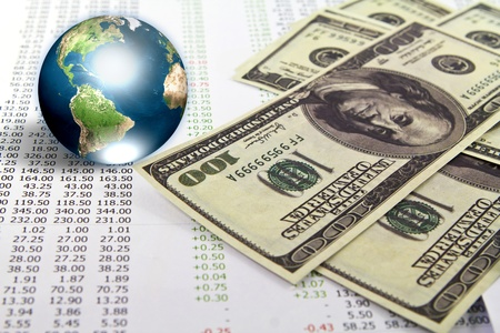 Dollar and business graph with earth (Elements of this image furnished by NASA) Stock Photo - 13446112
