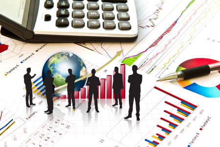 Silhouettes of business and business graph with earth (Elements of this image furnished by NASA) Stock Photo - 13446075