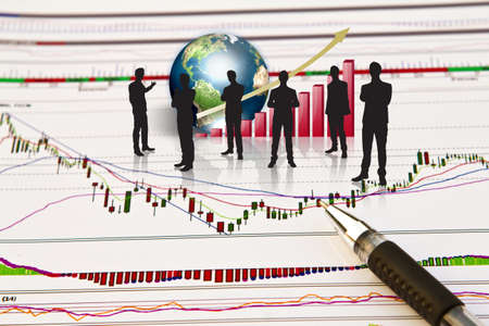 Silhouettes of business and business graph with earth (Elements of this image furnished by NASA) Stock Photo - 13446081