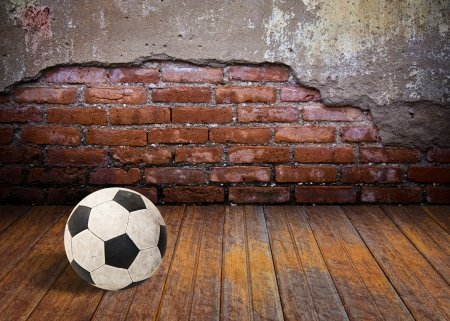 soccer ball in the old brick room photo