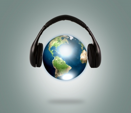 Earth with headphone   Elements of this image furnished by NASA  photo