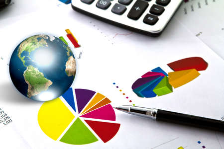 Pen and business graph with earth (Elements of this image furnished by NASA) Stock Photo - 13608200