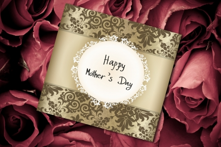 mothering: Mothers Day card on a background of red roses