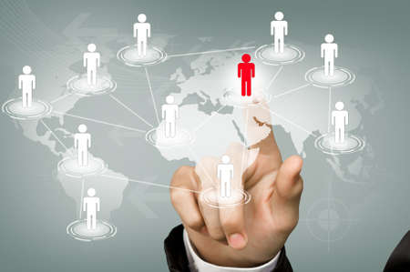 cross linked: Hand pick red man of Social Network Stock Photo
