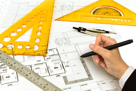 architect plans: Hand draw Blueprint of a house