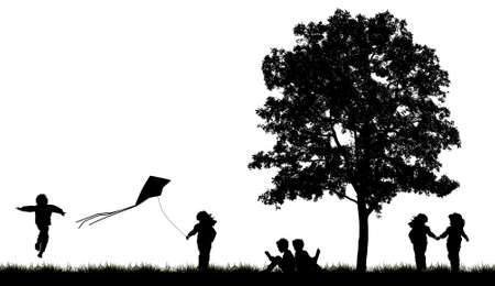 island clipart: Silhouettes of children read book under tree