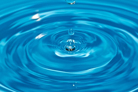 Clean water and water bubbles in blue Stock Photo - 13640470