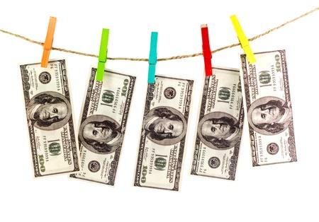 Dolarów na liny samodzielnie na białym tle
