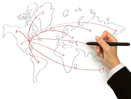 Businessman drawing a map isolated on a white background photo