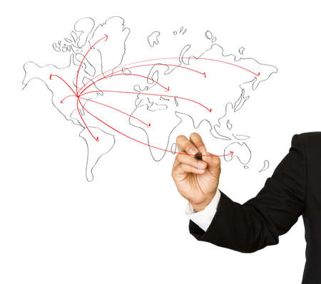 Businessman hand drawing a social network scheme on a whiteboard Stock Photo - 13631052