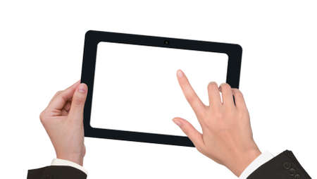 Hand holding a touchpad pc with white screen photo