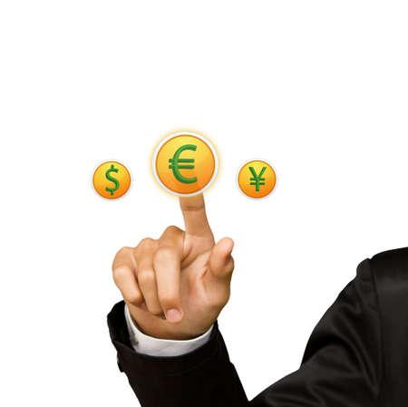 barter: Business man hand press yen sing button Stock Photo