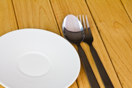 closeup of plate on old white wood table photo