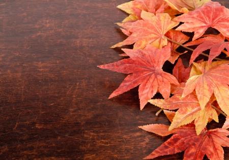 hojas secas: Hojas artificiales de arce sobre fondo de madera vieja Foto de archivo