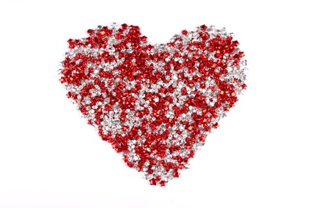 Red and white stars heart shape isolated on white background Stock Photo - 13639306