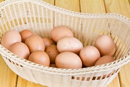 Brown eggs in a Wicker basket photo