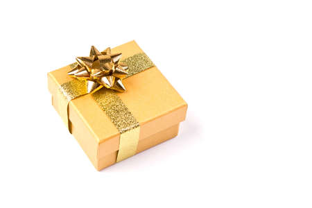colour box: Golden gift box with golden ribbon