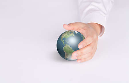 Business hand hold Earth photo