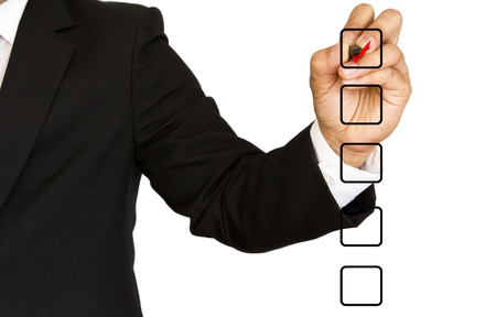 Business Hand choosing one of many options photo