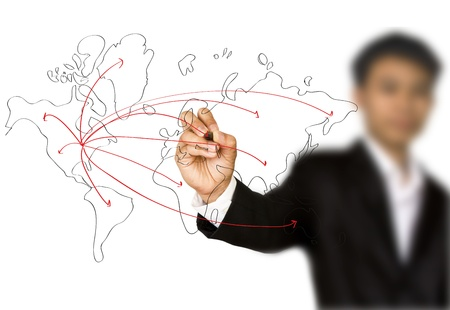 Businessman hand drawing a social network scheme on a whiteboard photo