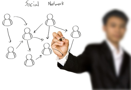 Businessman hand drawing a social network scheme on a whiteboard Stock Photo - 13629953