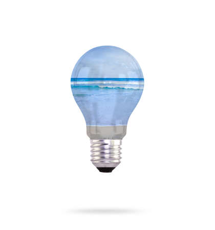 light bulb with sea inside Stock Photo - 13632099