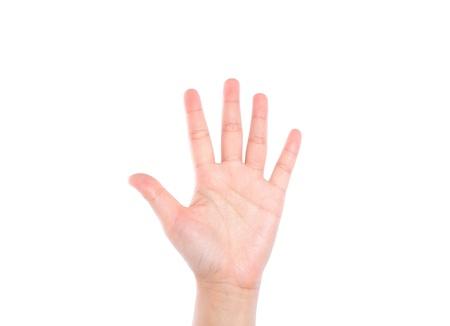 白い背景の上 5 を意味する手の記号 写真素材