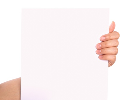 Hand and paper isolated on white background photo