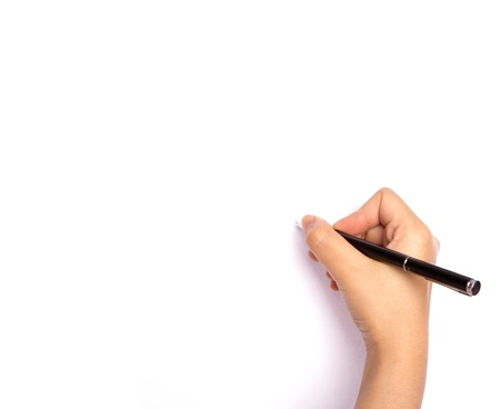 Hands with pen over paper isolated on white background Stock Photo - 13783126