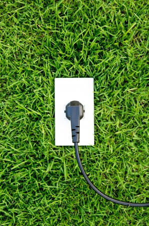 Energy concept outlet in  fresh spring green grass photo