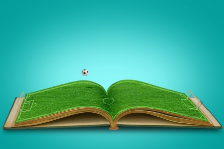 indoor soccer: Open green grass  book Of soccer stadium with football Stock Photo