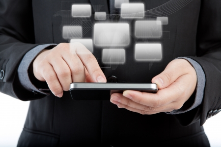 Business man use mobile phone with application icons photo