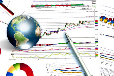 share prices: Pen and business graph with earth (Elements of this image furnished by NASA)