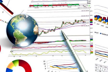 Pióro i wykres biznesu z ziemi (Elementy tego zdjęcia dostarczone przez NASA)