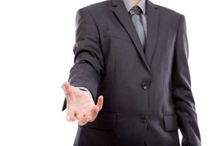 hands open: Mano abierta de hombre de negocios